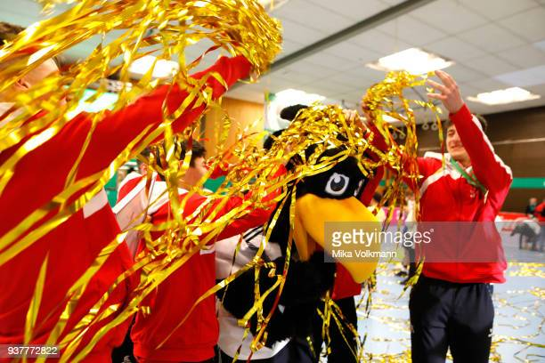 German mascot Paule will be celebrated by the team of 1FC Kln during the winning ceremony of the DFB Indoor Football on March 25 2018 in Gevelsberg...