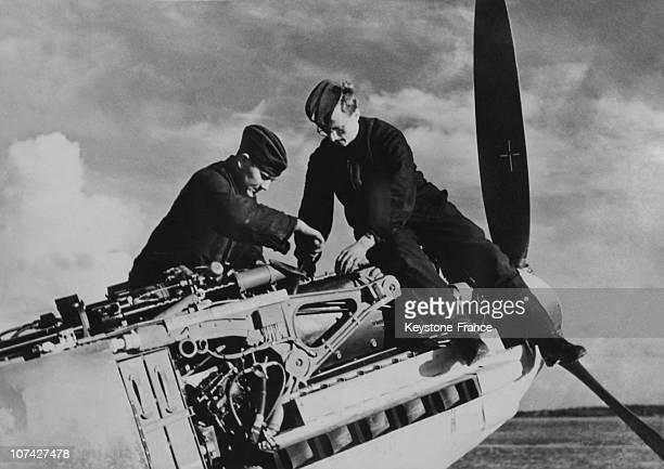 German Mechanics Repairing A Motor Of Aircraft On November 5Th 1940