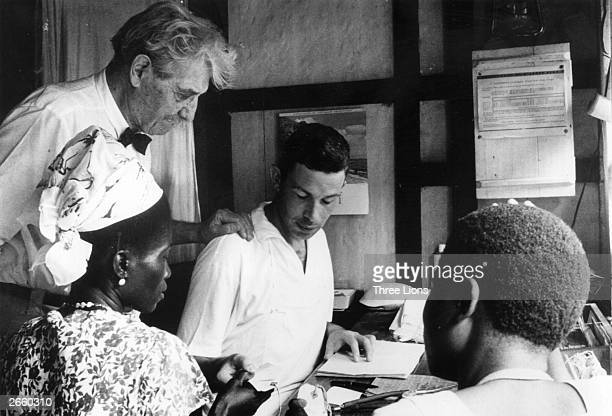 German medical missionary theologian musician and philosopher Dr Albert Schweitzer at his hospital in Lambarene French Equatorial Africa