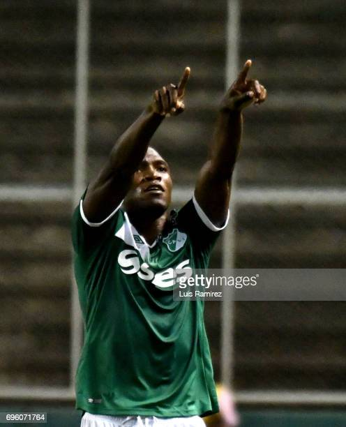 German Mera of Deporivo Cali, celebrates after scoring the first goal of his team during the Final first leg match between Deportivo Cali and...