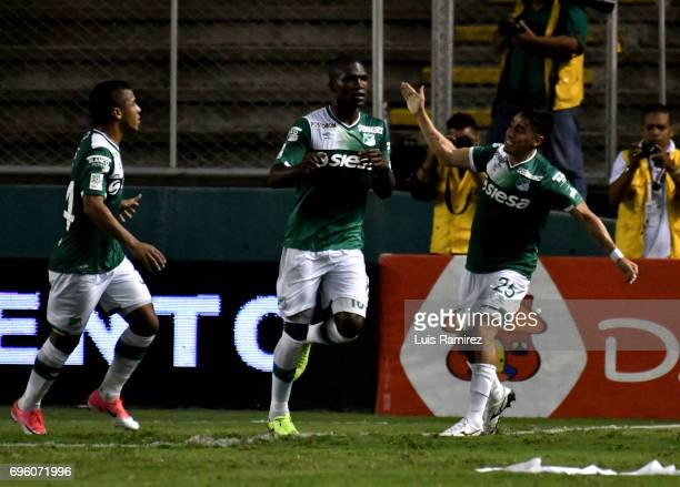 German Mera of Deporivo Cali , celebrates after scoring the first goal of his team during the Final first leg match between Deportivo Cali and...