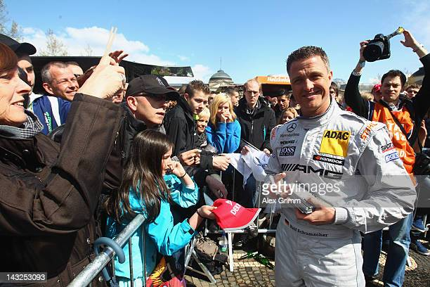 German Mercedes driver Ralf Schuhmacher poses during the DTM touring car presentation on April 22, 2012 in Wiesbaden, Germany.