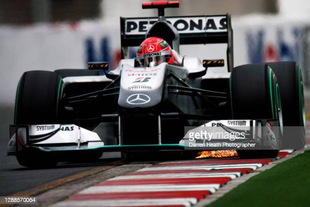 German Mercedes Formula One racing driver Michael Schumacher driving his Mercedes MGP W01 racing car during practice for the 2010 Australian Grand...