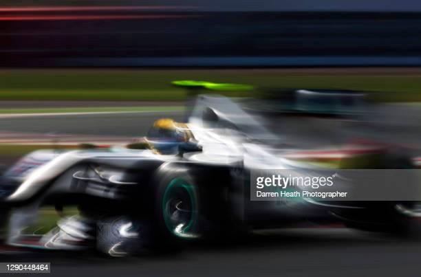 German Mercedes Formula One racing driver Nico Rosberg driving his Mercedes MGP W01 racing car during practice for the 2010 British Grand Prix,...