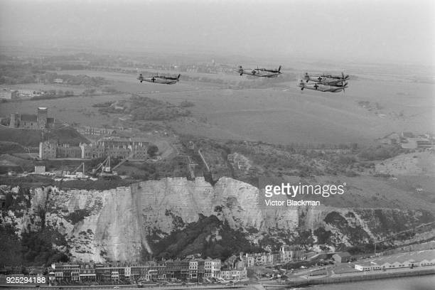 German Messerschmitt aircraft fly over Dover during the filming of war film 'Battle of Britain' directed by Guy Hamilton UK 16th May 1968