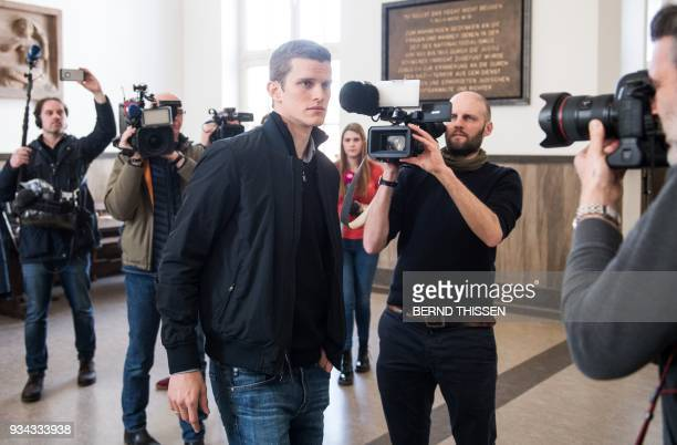 German midfielder and former Borussia Dortmund player Sven Bender arrives for a hearing as a witness in the trial on a bomb attack on the team bus of...