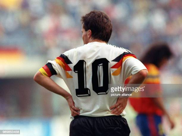 German midfielder and team captain Lothar Matthaeus with shirt number ten in Milan's GiuseppeMeazza stadium The match against Colombia ends with a 11...