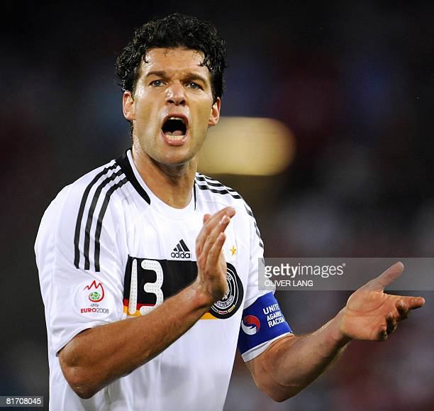 German midfielder Michael Ballack claps during the Euro 2008 championships semifinal football match Germany vs Turkey on June 25 2008 at St JakobPark...