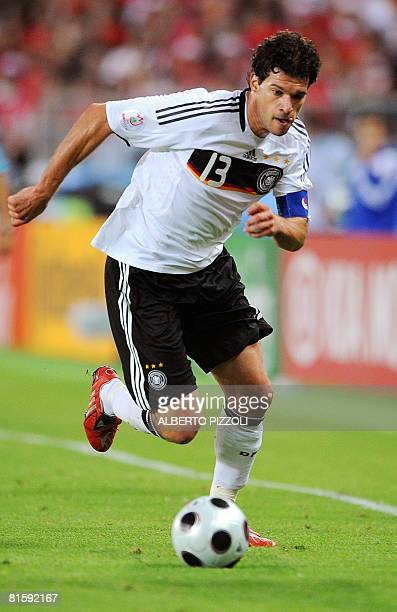 German midfielder Michael Ballack controls the ball during the Euro 2008 Championships Group B football match Austria vs. Germany on June 16, 2008 at...