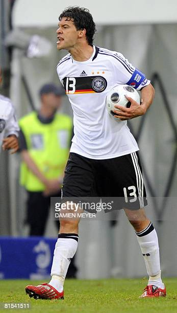German midfielder Michael Ballack holding the ball shouts during the Euro 2008 Championships Group B football match against Croatia on June 12 2008...