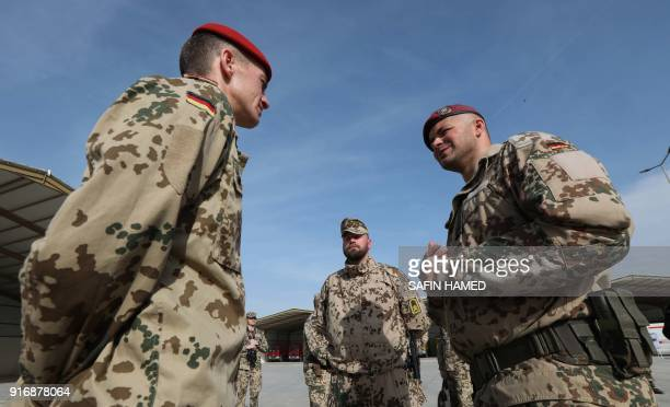 German Military advisers gather at the military camp of Mirra on the outskirts of Arbil on February 11 2018 / AFP PHOTO / SAFIN HAMED