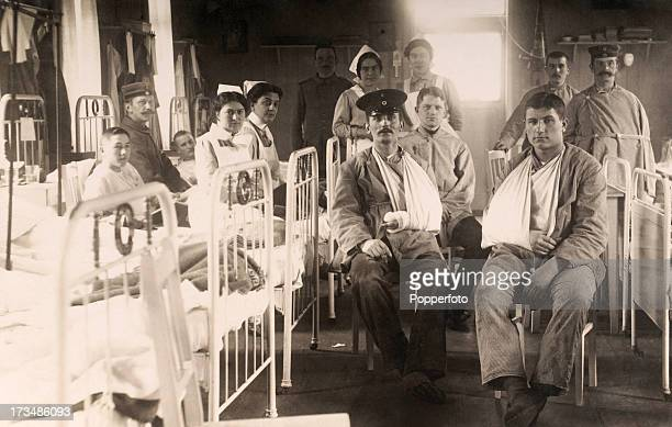 A German military hospital featuring wounded soldiers and nurses during World War One circa 1915