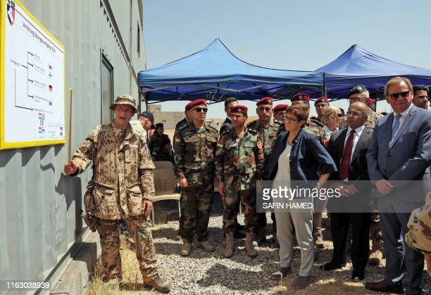 German military officer tours German Defence Minister German Defence Minister Annegret Kramp-Karrenbauer as she visits during a training session for...