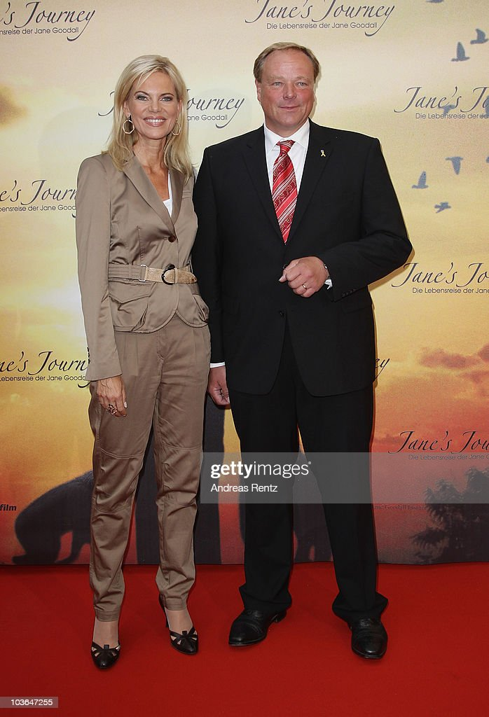 German Minister Dirk Niebel and Nina Ruge arrive for Jane's Journey (Die Lebensreise der Jane Goodall) Germany premiere at Astor Film Lounge on August 26, 2010 in Berlin, Germany.