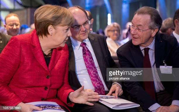 German Minister for Agriculture and Food Christian Schmidt Chancellor Angela Merkel and Franz Muentefering participate in the demographic summit of...