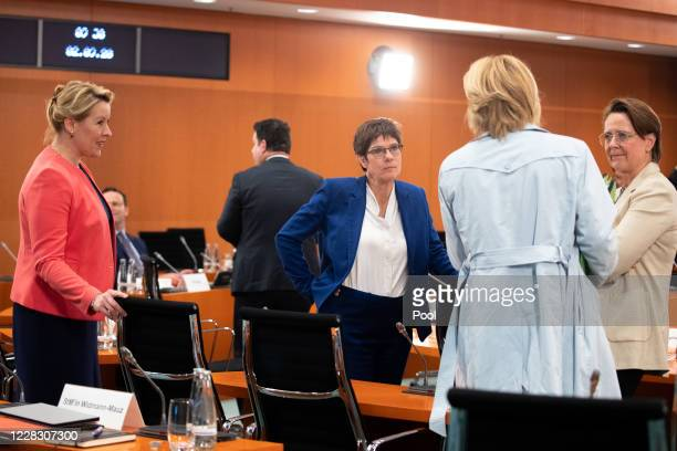 German Minister for Family Affairs Senior Citizens Women and Youth Franziska Giffey German Minister of Defence Annegret KrampKarrenbauer German...