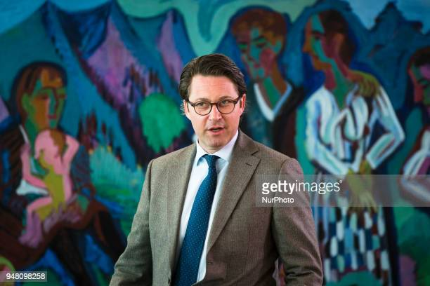 German Minister for Transport and Digital Infrastructure Andreas Scheuer arrives to the Weekly Cabinet Meeting at the Chancellery in Berlin Germany...