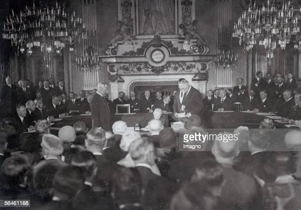 German minister Gustav Stresemann signing the Locarnopact Security agreement agreed upon 1925 in Locarno and signed in London Germany France and...