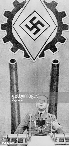 German Minister of Armaments and War Production for the Third Reich Albert Speer addressing workers at a factory involved in war production 1943