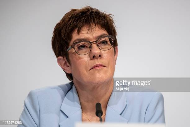 """German Minister of Defence Annegret Kramp-Karrenbauer attends a press conference following a meeting of the """"climate protection"""" government cabinet..."""