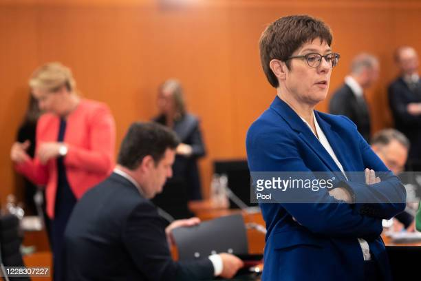 German Minister of Defence Annegret KrampKarrenbauer during a cabinet meeting at the German Chancellery on September 2 2020 in Berlin Germany The...