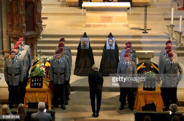 German Minister of Defence Ursula von der Leyen attends a funeral service for two deceased German soldiers at Fritzlar Cathedral on August 3 2017 in...
