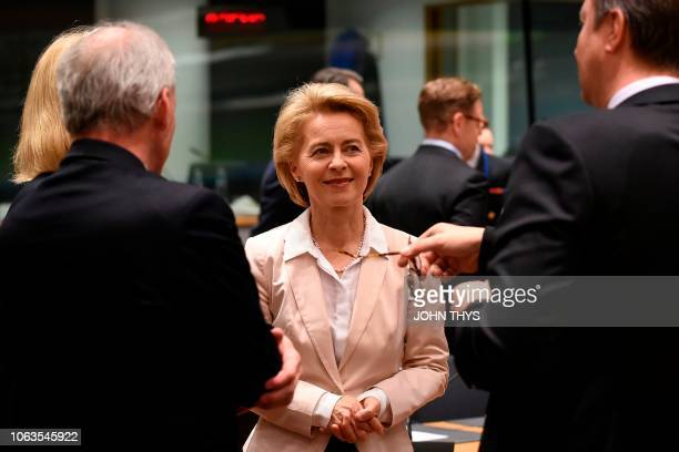 German Minister of Defence Ursula von der Leyen takes part in an EU defence ministers meeting at the EU headquarters in Brussels on November 19 2018