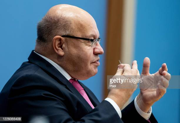 German Minister of Economy and Energy Peter Altmaier speaks during a press conference on the planned economic projection of the German Government for...