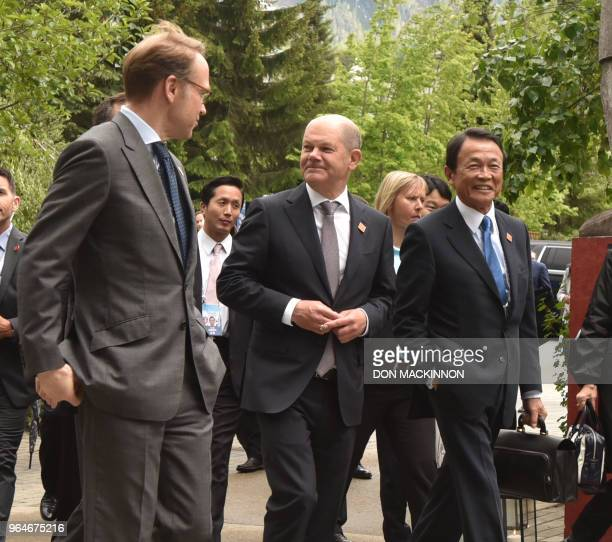 German Minister of Finance Olaf Scholz and Taro Aso Ministry of Finance Japan attend the opening of the G7 Finance Ministers and Central Bank...