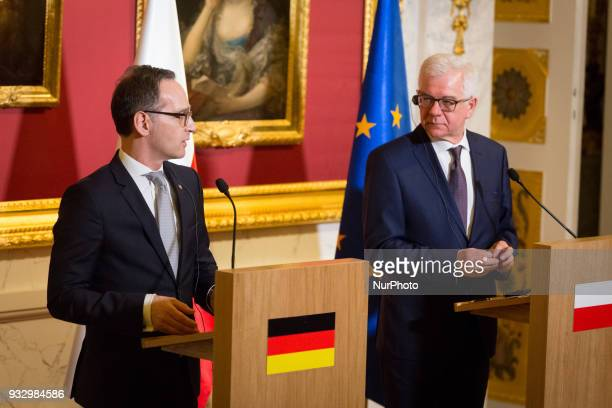 German Minister of Foreign Affairs Heiko Maas and Polish Minister of Foreign Affairs Jacek Czaputowicz during the press conference at Lazienki Palace...