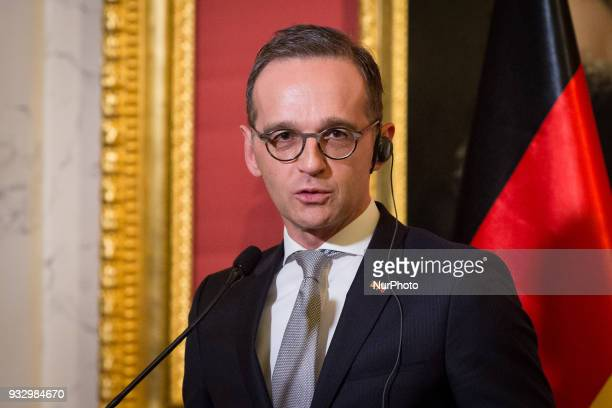 German Minister of Foreign Affairs Heiko Maas during the press conference at Lazienki Palace in Warsaw Poland on 16 March 2018