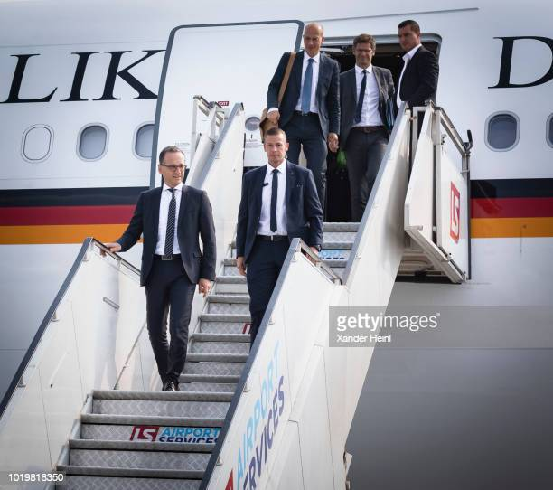 German Minister of Foreign Affairs Heiko Maas leaves his plane in Krakow on August 20 2018