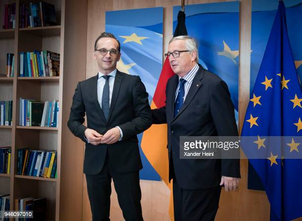 German Minister of Foreign Affairs Heiko Maas meets European Commission President JeanClaude Juncker in Brussels on April 13 2018 The visit includes...
