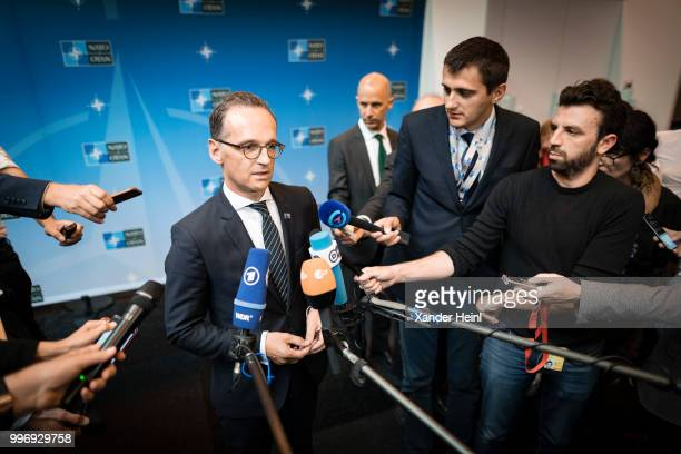 German Minister of Foreign Affairs Heiko Maas talks to the press on the first day of the North Atlantic Treaty Organization summit in Brussels on...