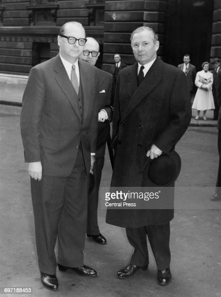 German Minister of Foreign Affairs Heinrich von Brentano with British Foreign Secretary Selwyn Lloyd outside 10 Downing Street London 2nd May 1956