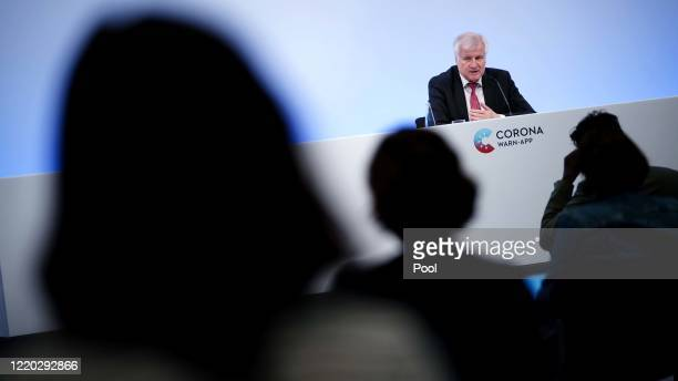 German Minister of Interior Construction and Homeland Horst Seehofe speaks during a press conference during the launch of Germany's...