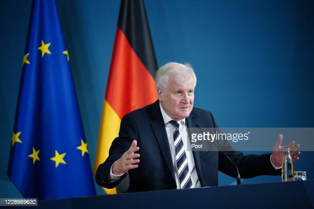 German Minister of Interior, Construction and Homeland Horst Seehofer speaks during a press statement at the Ministry of the Interior on 23...