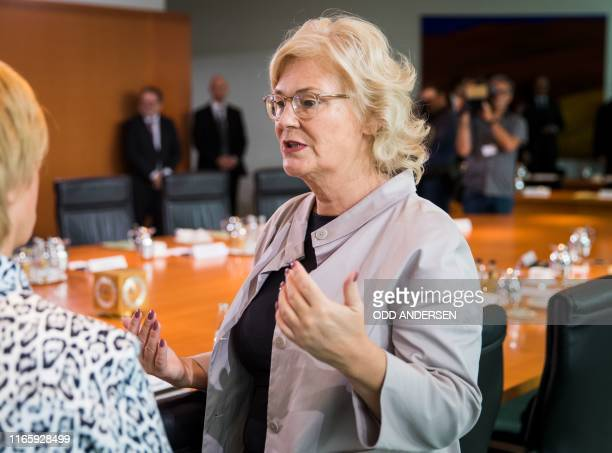 German minister of Justice Christine Lambrecht attends the weekly cabinet meeting at the Chancellery in Berlin on September 4 2019