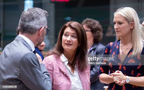 German Minister of State for Europe Michael Roth is talking with the Swedish Minister for European Union Affairs Ann Linde and the Irish Minister of...