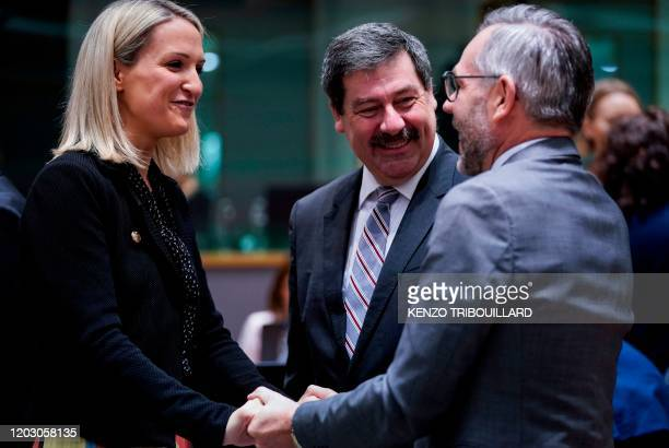 German Minister of State for Europe Michael Roth speaks with Ireland's Minister for European Affairs Helen McEntee and Slovakia's State Secretary of...