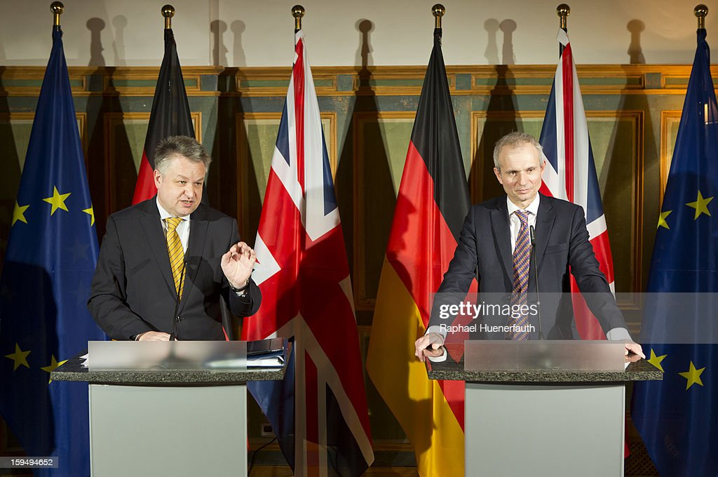 German Minister of State Michael Georg Link and British Minister for Europe David Lidington give a press conference during the third German-British consultations on Europe on January 14, 2013 in Berlin, Germany. The focus of the consultation are the Economic and Monetary Union and for both views on the future of the European Union.