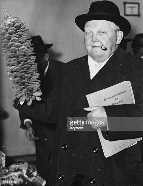 German Minister of Trade Ludwig Erhard arriving at Dusseldorf Airport December 6th 1953