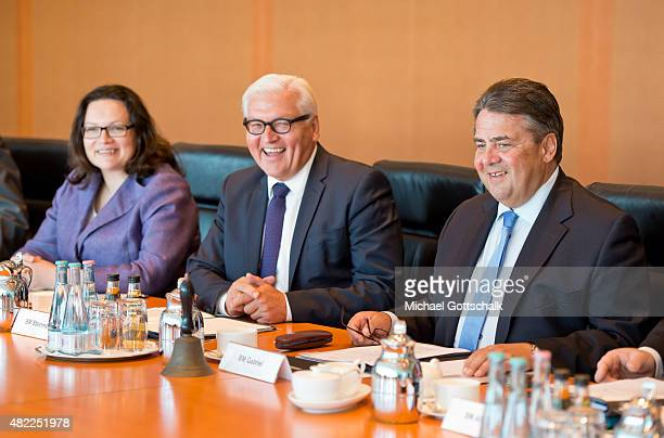 German Minister of Work and Social Issues Andrea Nahles German Foreign Minister FrankWalter Steinmeier and German Economy Minister and Vice...