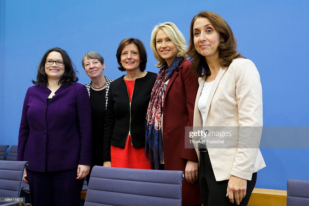 German Minister of Work and Social Issues Andrea Nahles, German Environment Minister Barbara Hendricks, Prime Minister Of German State of Rhineland-Palatinae, Malu Dreyer, German Family Minister Manuela Schwesig, and Immigration Minister Aydan Oezoguz pose for a photo at Bundespressekonferenz on December, 01, 2015 in Berlin, Germany.