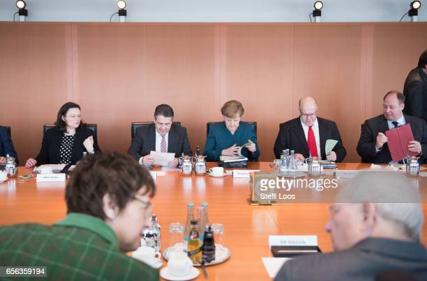 German Minister of Work and Social Issues Andrea Nahles German Foreign Minister Sigmar Gabriel German Chancellor Angela Merkel Head of the Federal...