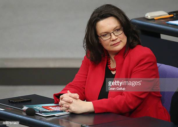 German Minister of Work and Social Issues Andrea Nahles whp presented a reform of Germany's pension system earlier in the day attends debates at the...