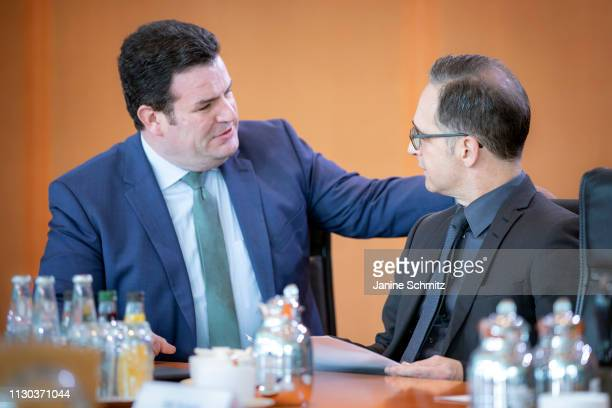 German Minister of Work and Social Issues Hubertus Heil and German Foreign Minister Heiko Maas during a conversation before the weekly german...