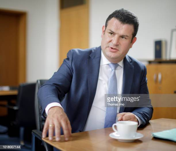 German Minister of Work and Social Issues Hubertus Heil gives an interview on August 14 2018 in Berlin Germany