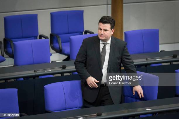 German Minister of Work and Social Issues Hubertus Heil is pictured before the swearingin ceremony of the new federal government on March 14 2018 in...