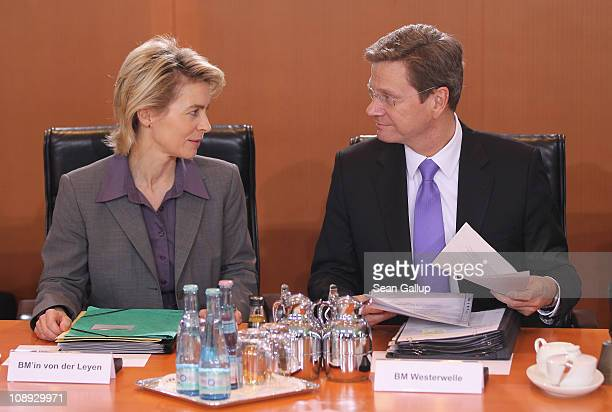 German Minister of Work and Social Issues Ursula von der Leyen and Vice Chancellor and Foreign Minister Guido Westerwelle arrive for the weekly...